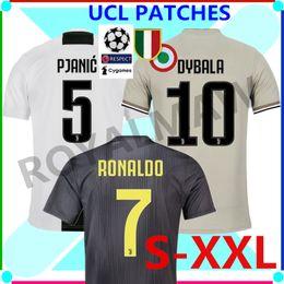 5b4b874e8b3 UCL JUVENTUS JERSEYS 2019 HOME AWAY GREY THIRD BLACK MAGLIA GARA FOOTBALL  SHIRT 18 19 CHAMPIONS LEAGUE 7 RONALDO CR7 DYBALA ALL PATCH BADGES