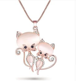 5b8d19a5c White gold cat jeWelry online shopping - New Cat Necklace Long Pendant  Brand Crystal Chain New