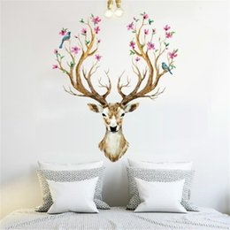 China Sika Deer Shape Wall Sticker Living Room Home Decorate Art Stickers Removable Water Proof Eco Friendly Wallpaper 3 3yt jj supplier wallpaper pieces suppliers