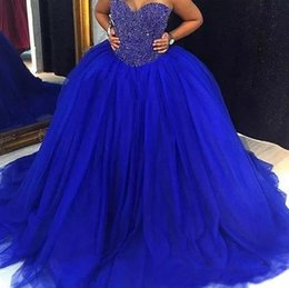 2998e980b7e Royal Blue Prom Dresses Long For 15 Years Girls Sequin Beaded Formal  Evening Gowns Lace-up Sweet 16 Quinceanera Ball Party Gowns Custom Made