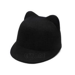 e70426c2901b6 Winter Women Girl Wool Derby Devil Hat Cute Kitty Cat Ears Bowler Cap Hot  Sale