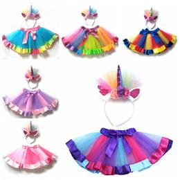 $enCountryForm.capitalKeyWord NZ - Kids Rainbow TUTU Skirt With Unicorn Headband Dress Children Girls Gauze Ball Gown Colorful Dance Ballet Pettiskirt Party Dress AAA1059