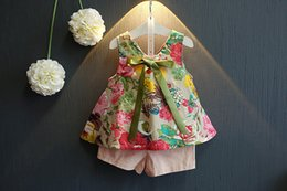 Baby Girl Summer Suits Australia - 2018 New Children's Girls Summer Floral Printed Sleeveless Baby Vest dress Tops Shorts Sets For 0-4Y Kids Clothes Outfit Suits