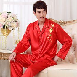 Mens Plus Size Silk Shirts Canada - 2017 New Luxurious Mens Silk Pajama Set Long Sleeve Satin Sleepwear Pyjamas Men Plus Size 4XL