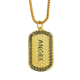 mens fashion dog tags Australia - Fashion Men Boys Dance Dog Tag Pendant Necklaces For Micro Rock Rap Hip Hop Jewelry Mens Angel Necklaces 75cm Long Gold Chains