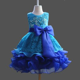 40048632daf Ruffles Ball Gown Girls Dress with Big Bow Embroidery Flower Girl Dresses  for Communion Formal Party Formal Dress For Birthday Wedding