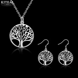 Valentines Gifts Sets Canada - 2018 SALE Best Silver Tree Of Life jewelry set gift for wife girl friend women Valentines necklace earring SMTS828
