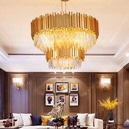 Modern Crystal Chandeliers Australia - LED Modern Crystal Chandelier American Gold Crystal Chandeliers Lighting Fixture Round Shining Home Indoor Light Hotel Lobby Hanging Lamp