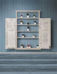 Fondali in legno vintage retrò blu da parete fondali stampati in legno bianco per piante in vaso per bambini in miniatura per bambini foto sfondi
