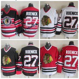 Chicago Blackhawks Jeremy Roenick Hockey Jerseys Vintage CCM Classic White  Red 27 Jeremy Roenick Stitched 75th Anniversary Jersey 7194c9f09