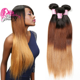 $enCountryForm.capitalKeyWord Australia - Beauty Forever 8A Virgin Straight Indian Hair Bundles T1B 4 27 Ombre Hair Bundle Straight Human Hair Extensions 3 Bundles Weave