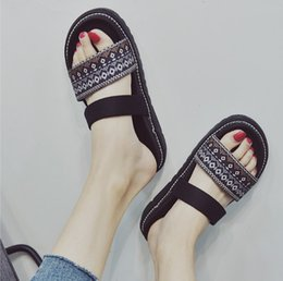 Discount flat shoes korean styles - Cool slippers for women outside the summer wear flat style 100 take the Korean version outdoor 2018 new thick bottom bea