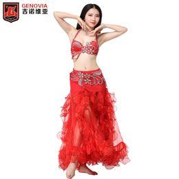 132a5ccd530f9e Women Belly Dance Wear Handmade Flower Beaded Clothing Egyptian Costumes  Oriental Rhinestone Set Bra Belt Skirt