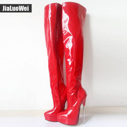sexy thigh high heel boots Australia - Women Over-The-Knee Thigh High Boots Red 18cm Sexy Metal Stiletto Thin Heel Fetish Zip Fashion Nightclub Pole Man Cosplay Dancing shoes Boot