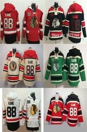 Factory Outlet Mens Ice Hockey Hoodies Chicago Blackhawks 88 Patrick Kane  Stitched Logos Red Black White Green Beige Ice Hockey Hoodies 91bcf3689