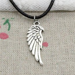 Double Chain Pendants NZ - Creative Fashion Antique Silver Pendant double sided angel wings 33*12mm Necklace Choker Charm Black Leather Cord Handmade Jewlery