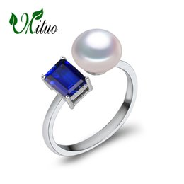 Chinese  MITUO 2017 new Created Blue sapphire ring,Wedding and Engagement Rings For women,female pearl ring vintage jewelry manufacturers