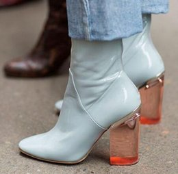 1af23d17fcf Clear bloCk heels online shopping - Clear Block Heels Women Boots Round Toe  New Arrival Ankle