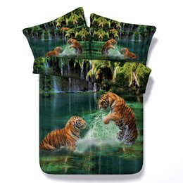 teen bedding sets full NZ - 3D green two tigers bedding sets animal duvet cover silver green bedspreads comforter cover Bed Linen Quilt Covers for adults teens boys men