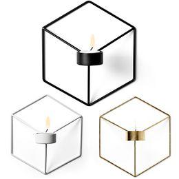 $enCountryForm.capitalKeyWord NZ - Wholesale 1 PCS 3D Geometry Metal Candlestick Wall Hexagon Candleholder Home Decor Free Shipping