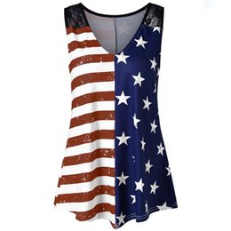 d081b8983e9 plus size V-Neck Tank Tops Fashion Women American Flag Print Lace Insert  Trendy Loose Sleeveless Tee Shirt