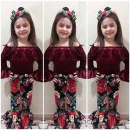 VelVet suit baby online shopping - Baby outfits INS girls Gold velvet Off Shoulder top Floral Flared pants headband set summer suit Boutique kids Clothing Sets C4067