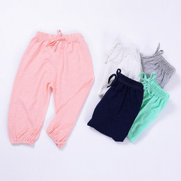 12 month boys brands clothes 2019 - Summer Children's Trousers Bamboo Cotton Children's Pants Baby Boys And Girls Mosquito Pants Feet Nine Pants K