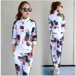 Wholesale Sports suit female spring new women s Korean version of the thin casual print color fashion cardigan two sets