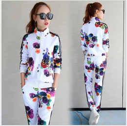 Korean women sports suit online shopping - Sports suit female spring new women s Korean version of the thin casual print color fashion cardigan two sets