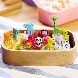 10pcs / set New Animal Farm Mini Cartoon Forchetta frutta Set utile Bento Box Accessori di plastica frutta Stuzzicadenti da cucina in Offerta