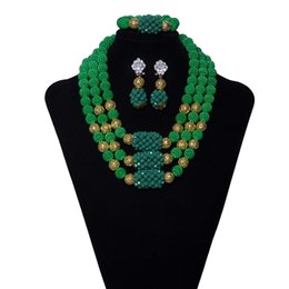 $enCountryForm.capitalKeyWord Australia - 3 Row Green Bridal Crystal African Beads Jewelry Set Coral Nigerian Wedding Beads African Womens Clothing Wedding Statement Necklace