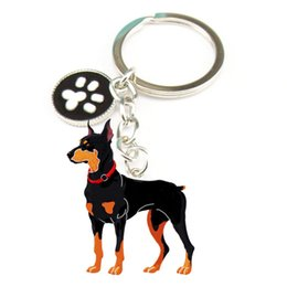 Dog Metal Key Chains NZ - Novelty Jewelry PET Key Chain Doberman Pinscher Dog Key rings Christmas Gifts Dog Metal Charm Key Chains for Lovers best Friend