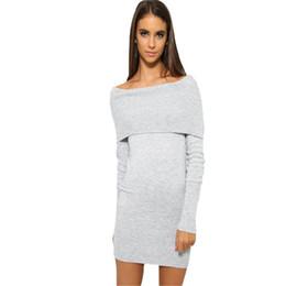 839bc927b11 Nouveau Femmes Mini Chandail Dress 2017 Automne Sexy Mince Moulante Robes  Maigre Split Brief Tricoté Vestidos Gris Noir Robes