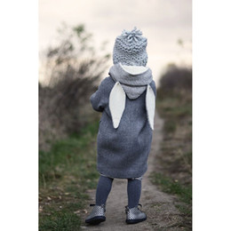 Cartoon Rabbit Hoodies Australia - Kids Boy Girl Hoodies Cartoon Gray Rabbit Ear Long Clothes Kids Cotton Outwear Pockets Hoodie Coat Europe&America Baby 12M-12T