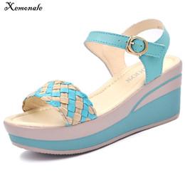 $enCountryForm.capitalKeyWord NZ - Xemonale Female Sandals Shoes Wedge Platform Leather Ladies Buckle Sandals High Heels Weave Strap Sandals For Women Summer 2018