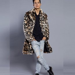 6b9700ac0595 2018 New Men Winter Faux Fur Jacket Printing Leopard Long Sleeve Lapel  Collar Thick Warm Fashion Man Fur Coat Long Plus Size XXXL for Men