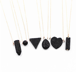 Gold prism online shopping - Lava rock Pendant Necklaces Heart Triangle Hexagonal Prism Aromatherapy Essential Oil Diffuser Necklaces Natural Black Lava Pendant Necklace