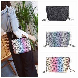 plain handbags wholesale 2019 - 3styles Geometric Laser Shoulder chain Bag Travel Pack handbag Fashion Girls Purse Outdoor crossbody Bags FFA545 30pcs d