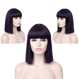 "$enCountryForm.capitalKeyWord NZ - Top Quality 14"" Black Claret Brown Purple Dark Purple Blue Short Straight Hair Wigs Heat Resistant Synthetic Wigs"