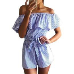 Discount beach jumpsuit girls - Ruffles Slash Neck Beach Playsuits Summer Women Striped Jumpsuits Girls Sexy Casual Playsuit Overalls With Belts Feminin
