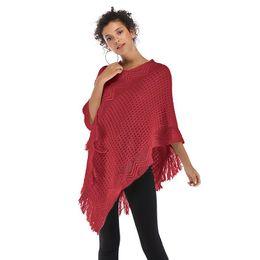 China New irregular tassel cloak shawl jacket women's lattice sleeve head sleeve sleeve sweater Online cheap cloak jackets suppliers