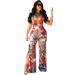 Chinese  Patchwork Print Sexy Long Jumpsuit Women Spaghetti Strap Sleeveless Romper Deep V Neck Backless Double Split Wide Leg Overalls manufacturers