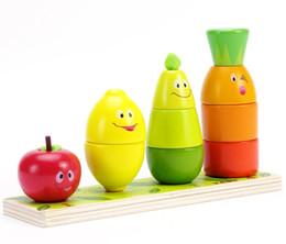 Vente en gros Fruit Forme Couleur Trieuse Stacker Jeu Jouets Éducatifs En Bois Comptage Reconnaissance Correspondance Conseil - Carotte Lemon Poire Pomme