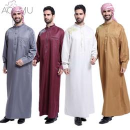 9d409e149558 AOMU Uomini Saudi Thobe Abbigliamento islamico musulmano Abito maschile  arabo Vestito Thobe Arabo Abaya Abito indiano Mens Kaftan Robe