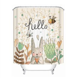 Discount eco friendly shower - Drop Ship Hello Rabbit Shower Curtain Waterproof Mildewproof Polyester Fabric Bath Curtain Bathroom Product With 12 Hook