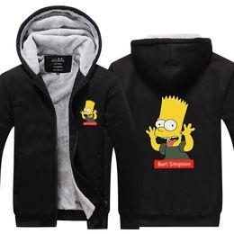 Wholesale super plus size coats resale online - Cartoon Anime Bart Simpson Hoodie New Winter Thicken fleece Cotton Zipper Casual Coat Jacket Super Warm Sweatshirt USA EU Size Plus Size
