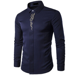 Wholesale tuxedo shirts for sale - Group buy NEW spring autumn outfit high grade embroidery hidden interlocking long sleeve men s clothing Tuxedo Evening Dress Shirts