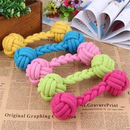 Knotting rope online shopping - 19CM Length Teethers Durable Teething Dogs Chewing Bone Shape Rope Pets Molar Teeth Props Puppy Cotton Chew Double Knot Toys rc Z