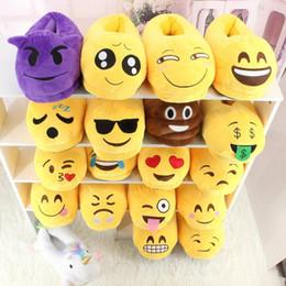 18Styles Emoji Pantoufles 2pcs / paire de Bande Dessinée Doux Chaud En Peluche Pantoufle QQ Expression Unisexe Pantoufles Hiver Ménage Occasionnels Chaussures en Solde