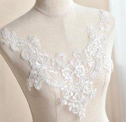 V-cou broderie dentelle patch robe de mariage bricolage matériaux costume théâtrale accessoires T014